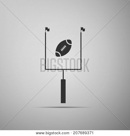 American football with goal post icon isolated on grey background. Flat design. Vector Illustration