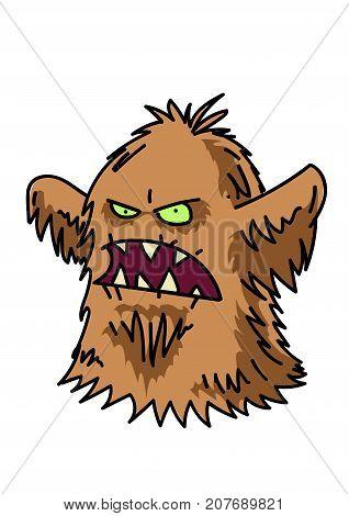 Hairy monster cartoon hand drawn image. Original colorful artwork, comic childish style drawing.