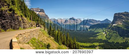 Going to the Sun Road with beautiful panoramic view of Logan Pass in Glacier National Park, Montana