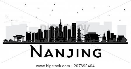 Nanjing China skyline black and white silhouette. Simple flat concept for tourism presentation, banner, placard or web site. Cityscape with landmarks.