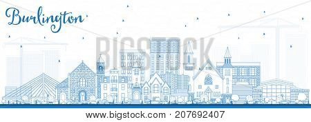 Outline Burlington Iowa Skyline with Blue Buildings. Business Travel and Tourism Illustration with Historic Architecture.