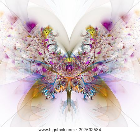 Decorative Butterfly. Abstract fractal background purple Decorative Butterfly. An abstract computer generated modern fractal design on light background. Digital art. Abstract fractal element pattern for your design. Colorful fractal butterfly