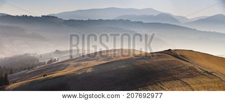 Mountain Autumn Sunrise Panoramic Landscape With Colorful Meadow
