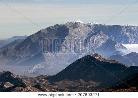 Mountain Biokovo viewed from mountain Mosor in Dalmatia region in Croatia