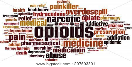 Opioids word cloud concept. Vector illustration on white