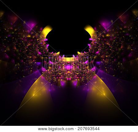 Decorative colorful fractal Butterfly. Abstract fractal background purple Decorative Butterfly. An abstract computer generated modern fractal design on dark background. Abstract fractal color texture. Digital art. Abstract Form & Colors. Abstract fractal