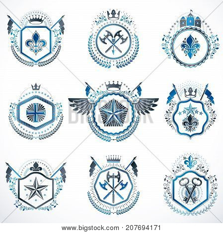 Set of vector vintage emblems created with decorative elements like crowns stars bird wings armory. Collection of heraldic coat of arms.