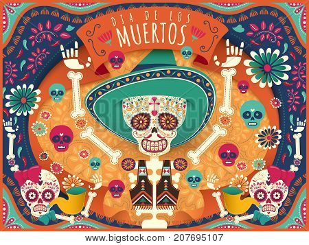 Cheerful Day Of The Dead Poster