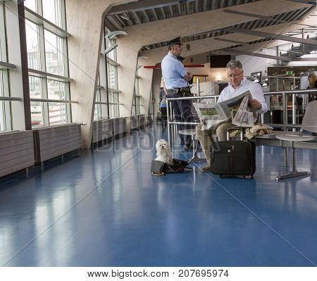 Berlin, Germany: May 23, 2015: Man is sitting in an airport lounge with a small white dog sitting at his feet. Tegel Airport is the main International Airport of Berlin.