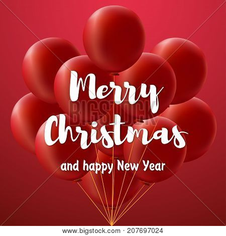 The large white inscription Merry christmas and happy new year on red gradient background with bundle of big red balloons