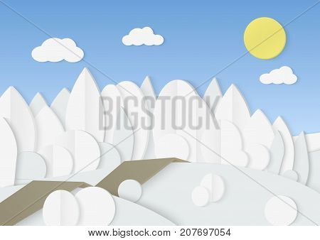 Vector illustration of cardboard paper forest with low poly trees and bushes in snow.