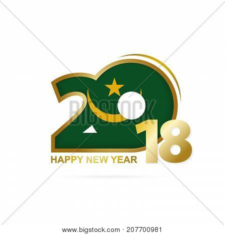 Year 2018 With Mauritania Flag Pattern. Happy New Year Design.