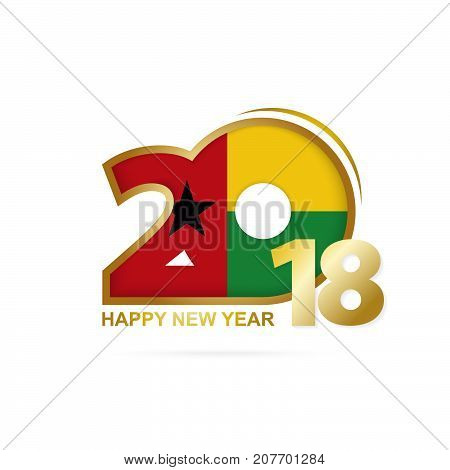 Year 2018 With Guinea-bissau Flag Pattern. Happy New Year Design.