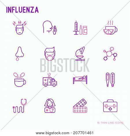 Influenza thin line icons set of symptoms and treatments: runny nose, headache, pain in throat, temperature, pills, medicine. Vector illustration.