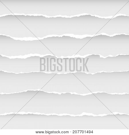 Ripped Paper Seamless Pattern. Abstract wallpaper with white stripes on white background.
