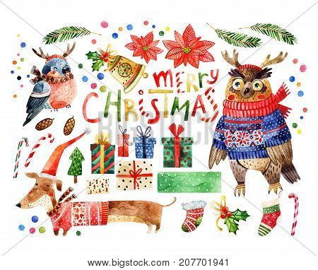 Cute animals set with merry christmas greetings isolated on white background. Watercolor cartoon illustration of hipster owl bullfinch in reindeer headband sweater scarf the new year symbol - dog