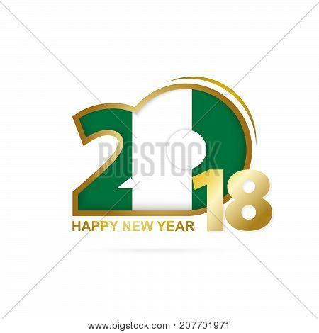 Year 2018 With Nigeria Flag Pattern. Happy New Year Design.