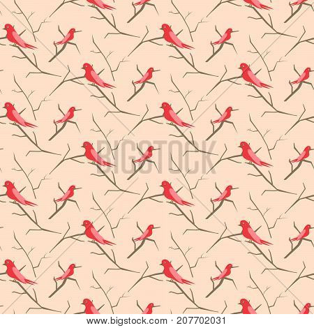 Birds on branches pink cute pattern seamless vector. Simple pastel red colored nestlings on trees for print on fabric.