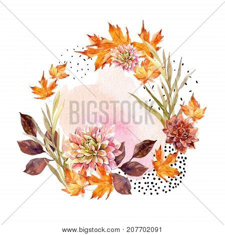 Autumn watercolor wreath on splash background with flowers leaves doted circles. Hand drawn falling leaf doodle water color scribble textures for fall design. Watercolour art illustration