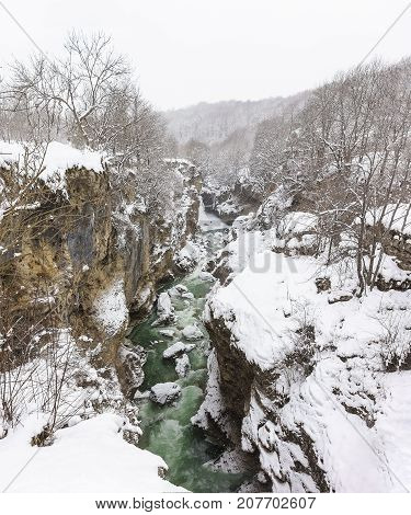Views Hadzhohskaya Tasnina The Gorge - The Gorge Of The River White With Swirling Green Cold Water O