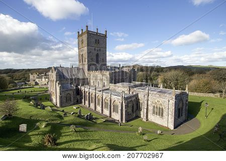 St David's Cathedral in Pembrokeshire, founded by Saint David of Menevia who died in 589.