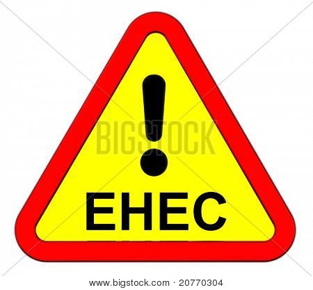 EHEC - warning sign. Computer generated 3D photo rendering. poster