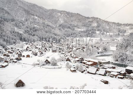 Historic Villages of Shirakawa-go and Gokayama Japan. Winter in Shirakawa-go Japan.