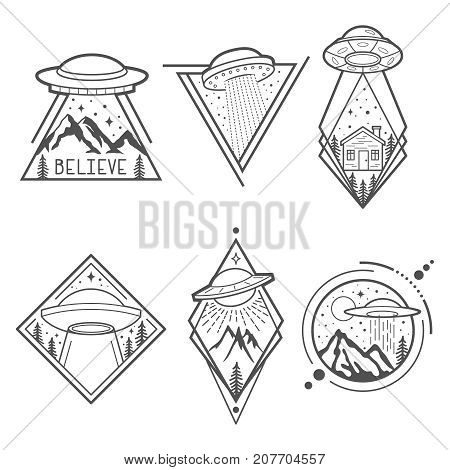 Set of six UFO vector emblems, labels, badges or logos. Mystical symbol paranormal phenomena, first contact, invasion of aliens