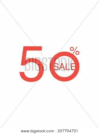 50 Off Discount Sticker. Sale Red Tag Isolated Vector Illustration. Discount Offer Price Label, Vect