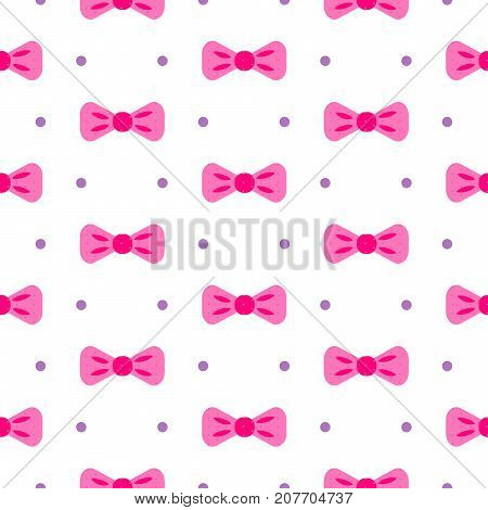 Bow tie pink and white dotted seamless pattern. Fashion girly vector background.