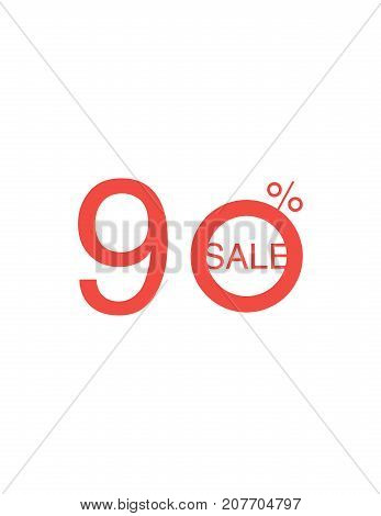 90 Off Discount Sticker. Sale Red Tag Isolated Vector Illustration. Discount Offer Price Label, Vect