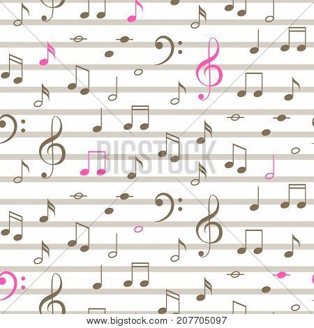 Musical notes seamless vector stripe pattern. Brown and pink notes on white background.