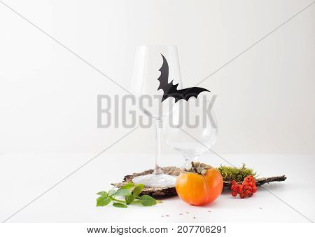 The Decoration Of Glasses For Celebrating Halloween Bats