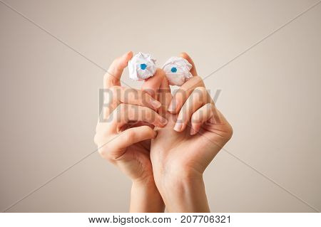 Monster From Hand And The Paper Balls Instead Of Eyes