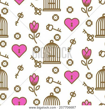 Bird cage romantic seamless vector pattern. Birdcage white and pink repeat background for card, invitation and paper.
