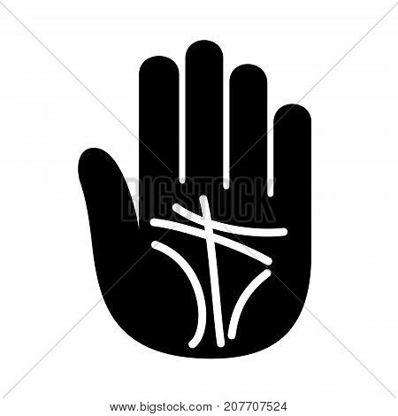 Palmistry lines open hand logo icon. Simple illustration of hand with palmistry lines hand open for chiromancer or palmist vector illustration for print or web design.