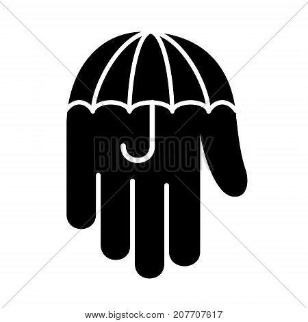 Umbrella hand palm down logo icon. Simple illustration of umbrella hand palm down vector illustration for print or web design.
