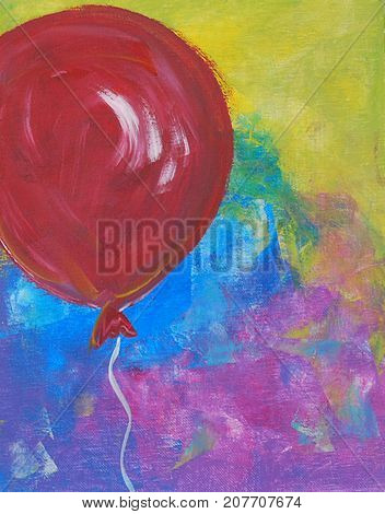 Acrylic Painting on Canvas of Red Balloon on Yellow Blue and Pink Background.