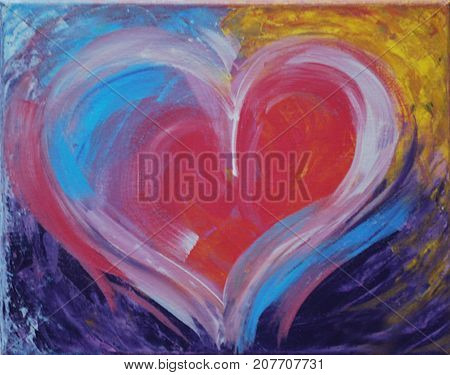 Acrylic painting on canvas of colorful heart
