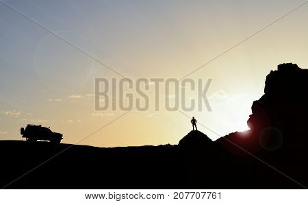 spirit of discovery & explorer man silhouette