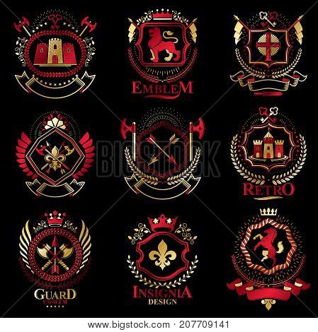 Vintage decorative heraldic vector emblems composed with elements like eagle wings religious crosses armory and medieval castles animals. Collection of classy symbolic illustrations.