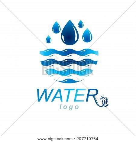 Fresh mineral water design vector emblem for use as marketing design symbol. Environment conservation concept.