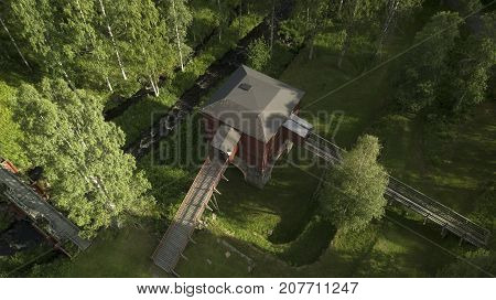 An old furnace from above with some aerial photos