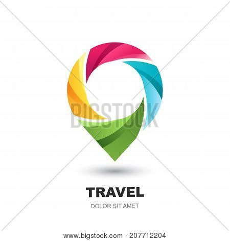 Vector Logo Icon With Pin Map. Multicolor Waypoint Marker. Concept For Vacation, Travel, Tour Search