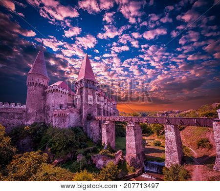 Corvin Castle, Hunedoara, Transylvania, Romania. Hunyad Castle was laid out in 1446. Castelul Huniazilor in Romania.