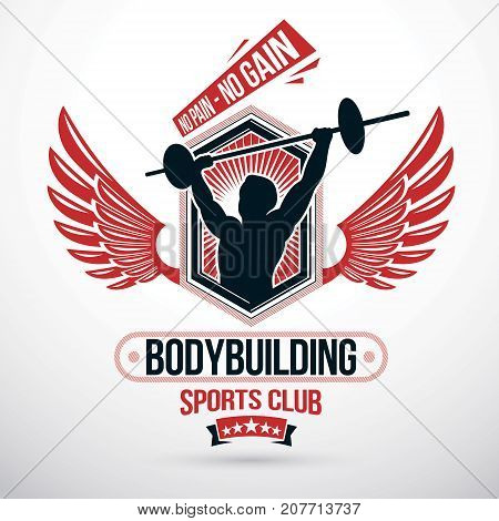 Vector winged symbol composed using muscular athlete holding barbell. Weight-lifting gym conceptual symbol