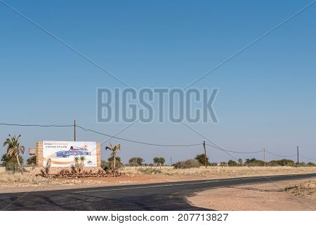 UPINGTON SOUTH AFRICA - JULY 6 2017: An information board in Upington for the Bloodhound world speed record attempt at Hakskeenpan