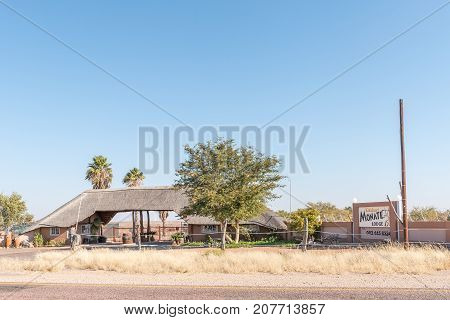 UPINGTON SOUTH AFRICA - JULY 6 2017: Entrance to the Kalahari Monate Lodge on the R360-road north of Upington a town in the Northern Cape Province