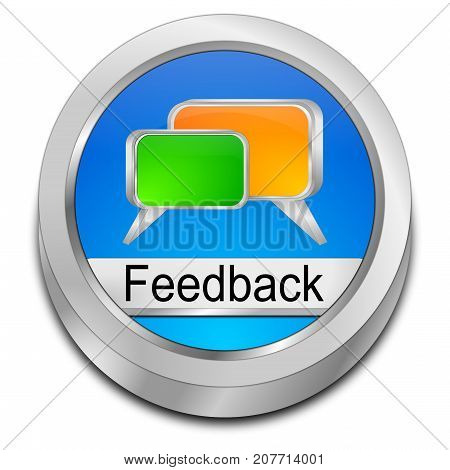 glossy blue Feedback button - 3D illustration