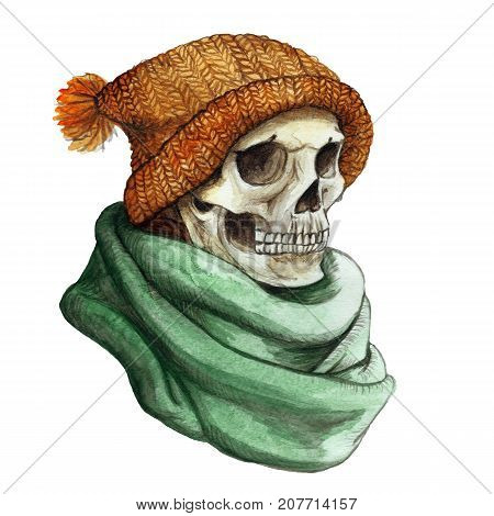 watercolor drawing in the theme of Halloween dull human skull in orange knitted warm woolen hat and green scarf,background watercolor stains of gray color, frame for
